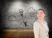 Složený obraz smějící se asijské podnikatelka — Stock fotografie