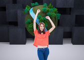 Teenage wearing casual clothes while raising her arms — Stock Photo