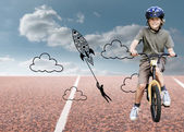 Little boy with his bike — Stock Photo