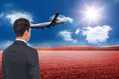 Composite image of 3d plane taking off over field — Stock Photo