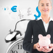 Blonde businesswoman holding piggy bank — Stock Photo