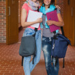 Two happy students posing in hallway — Stock Photo