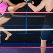 Stock Photo: Female boxer practicing air kick