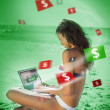 Woman in bikini gambling online in green light — Photo