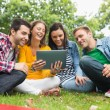 College students using tablet PC in park — Foto Stock