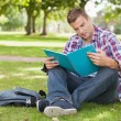Stock Photo: Handsome concentrating student sitting on grass studying