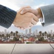 Stock Photo: Business handshake on background of townscape