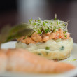 Close up of salmon dish with cress — Stock Photo #36168243