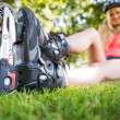 Casual attractive blonde wearing roller blades — Stock Photo #36168689