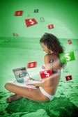 Woman in bikini gambling online in green light — Stock Photo