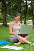 Smiling student using laptop with books at the park — Stock Photo