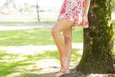 Picture of womans leg in floral dress — Foto de Stock