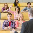 Elegant teacher with students at the lecture hall — Stock Photo #36171027