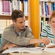 Two smiling students studying together — Foto Stock