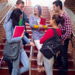 Stock Photo: College students conversing on stairs in college