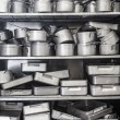 Stock Photo: Shelf full of pots