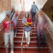 Stock Photo: Casual smiling student standing on stairs