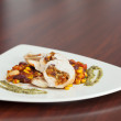 Stock Photo: Front view of chicken dish with salsa