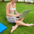 Student using laptop with books at the park — Stock Photo