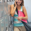 Smiling pretty student phoning — Stock Photo