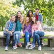 Stock Photo: Portrait of young college students in park