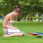 Female student doing homework at the park — Stock Photo
