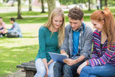 College students using tablet PC in park — Stock fotografie