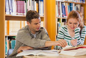 Two smiling students studying together — Stock Photo