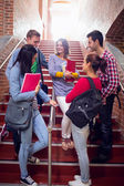 College students conversing on stairs in college — Stock Photo