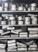Shelf full of pots — Stock Photo