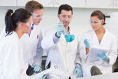 Scientists working on an experiment at the lab — Stock Photo