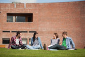 Four casual students sitting on the grass chatting — Stock Photo