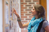 Cheerful student pointing at notice board — Stock Photo