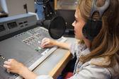 Focused pretty radio host moderating — Stock Photo
