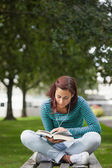 Focused casual student sitting on bench reading — Stock Photo