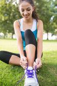 Active happy brunette tying her shoelaces — Stock Photo