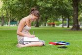 Female student doing homework at the park — Foto Stock