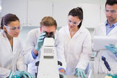 Scientists with microscope in the laboratory — Stock Photo