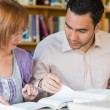 Adult students studying together in the library — Stock Photo #36183509