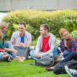 College students sitting in the park — Stock Photo