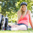 Casual cheerful blonde wearing roller blades — Stock Photo #36185149