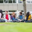 图库照片: College students sitting in park
