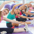 Fitness class and instructor doing stretching exercise on yoga m — Stock Photo #36188339