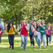 Foto Stock: College students running in park