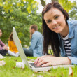 Smiling female using laptop with other students in park — Stock Photo