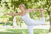 Calm young woman doing yoga standing in a park — Stock Photo