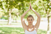 Pretty fit woman doing yoga in a park — Stock Photo