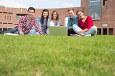 Students with laptop in the lawn against college building — Stock Photo