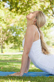 Profile view of sporty young woman doing yoga on an exercise map — Stock Photo
