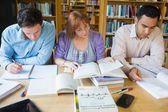 Adult students studying together in the library — Stock Photo